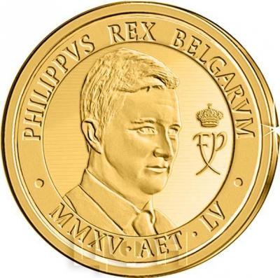 2015, 100 евро Бельгия, памятная монета - «Король Филипп» (реверс).jpg