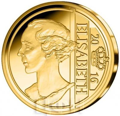 2016 год, 12 ½ евро Бельгия, памятная монета - «Елизавета Баварская», серия «Династия бельгийские королевы» (реверс).jpg