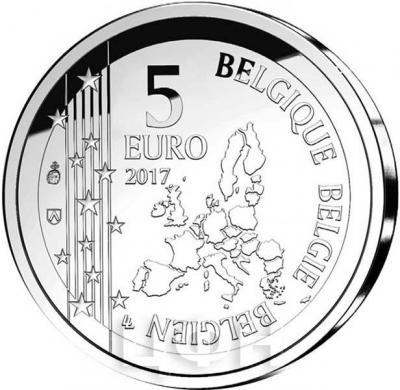 2017, 5 евро Бельгия, памятная монета - «60 лет комиксу - Гастон» (аверс).jpg