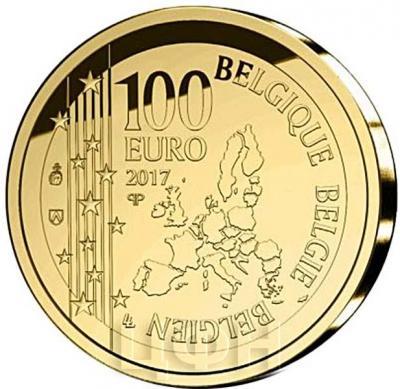 2017, 100 евро Бельгия, памятная монета - «100 лет со дня смерти Рене Магритт» (аверс).jpg