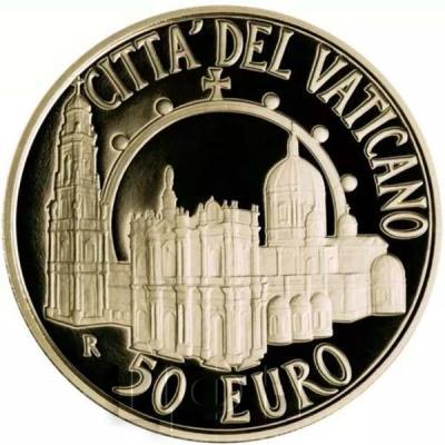 2015, 50 евро Ватикан, памятная монета - «Папский Храм Пресвятой Девы Марии Святого Розария», серия «Папские базилики» (реверс).jpg