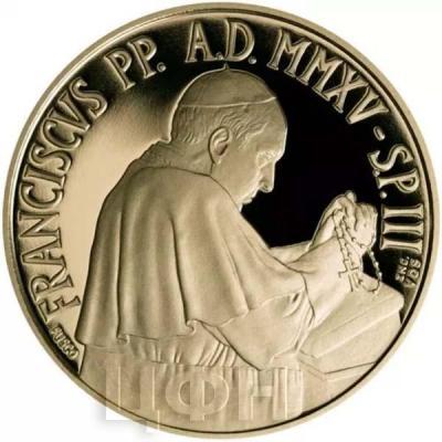 2015, 50 евро Ватикан, памятная монета - «Папский Храм Пресвятой Девы Марии Святого Розария», серия «Папские базилики»(аверс).jpg