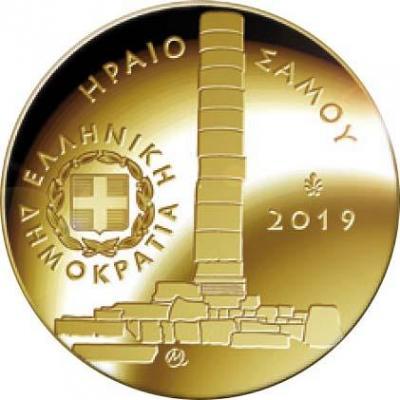 2019, 50 евро Греция, памятная монета - «Храм Геры на острове Самоса», серия «Культурное наследие» (аверс).jpg