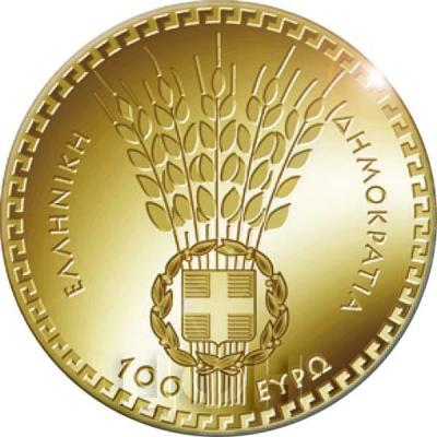 2019, 100 евро Греция, памятная монета - «Деметра», серия «Греческая мифология» (аверс).jpg