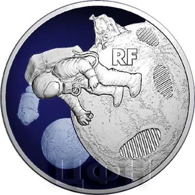 2019, серия памятных монет Франции - «50-летие первой высадки человека на Луну» (реверс).jpg