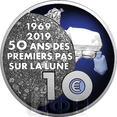 2019, 10 ЕВРО - «50-летие первой высадки человека на Луну» (аверс).jpg