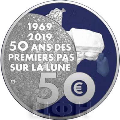 2019, 50 ЕВРО - «50-летие первой высадки человека на Луну» (аверс).jpg