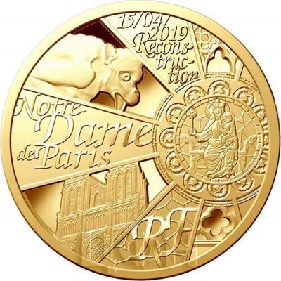 2019, золотые монеты Франция - «Нотр-Дам-де-Пари» (реверс).jpg