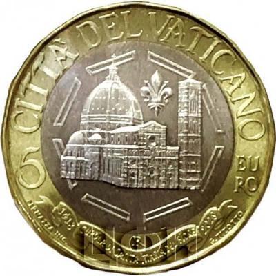 2018, 5 евро Ватикан, памятная монета, биметалл «600-летие купола собора Санта-Мария-дель-Фьеоре» (аверс).jpg