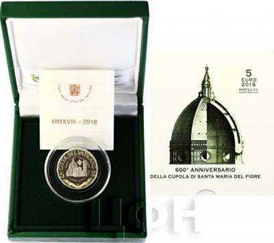 2018, 5 евро Ватикан, памятная монета, биметалл «600-летие купола собора Санта-Мария-дель-Фьеоре» (реверс).jpg