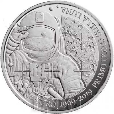 2019, Сан Марино 5 евро «50 лет со дня прибытия человека на Луну» (реверс).jpg