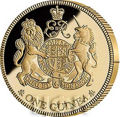 2018, Остров Св. Елены 1 гинея «Сапфировый юбилей Ее Величества королевы Великобритании Елизаветы II» (реверс).jpg
