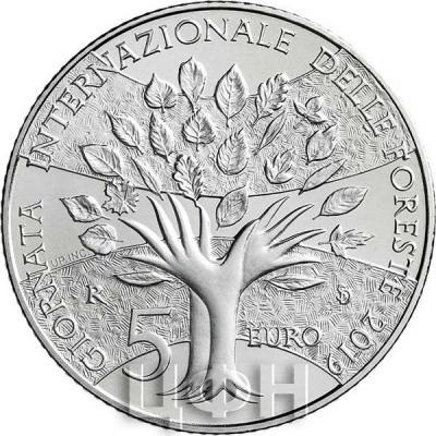 Сан Марино 5 евро 2019 год «Международный день леса» (реверс).jpg