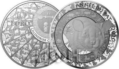 2020, Франция 10 евро «Год Крысы» (реверс).jpg