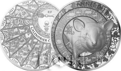 2020, Франция 20 евро «Год Крысы» (реверс).jpg