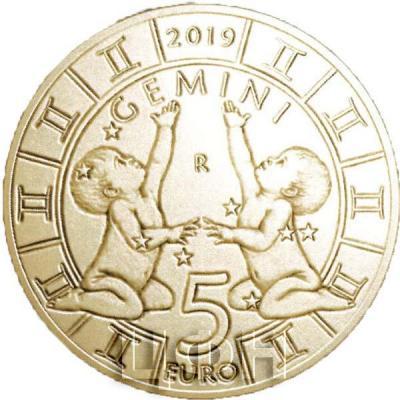 2019, Сан-Марино 5 евро «GEMINI» (реверс).jpg