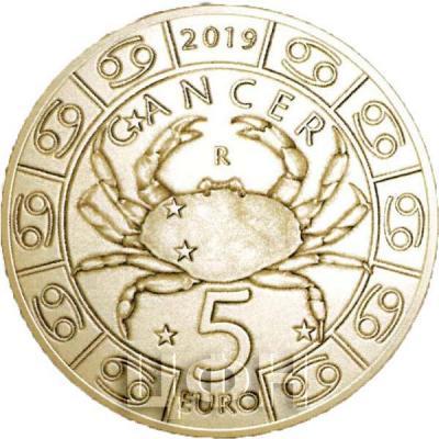 2019, Сан-Марино 5 евро «CANCER» (реверс).jpg