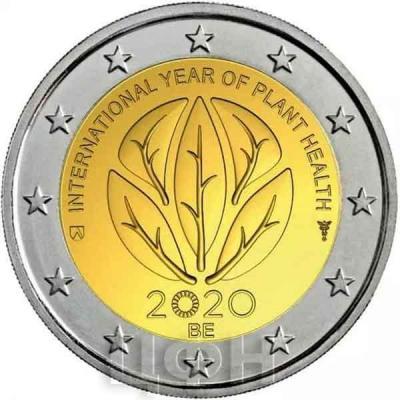 2020, 2 евро Бельгия, памятная монета - «Международный год охраны здоровья растений».jpg