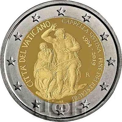 2 евро Ватикан «25-летие восстановления Сикстинской капеллы» (реверс).jpg