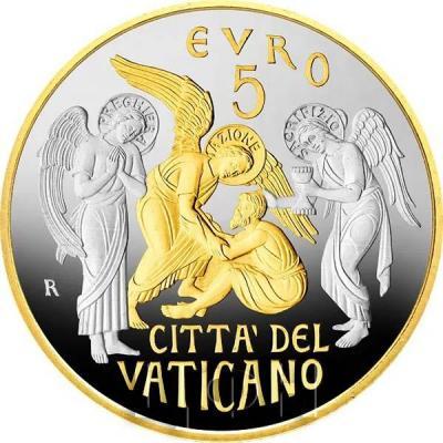 2019, 5 евро Ватикан, памятная монета - «150 лет Обществу Святого Петра» (аверс).jpg