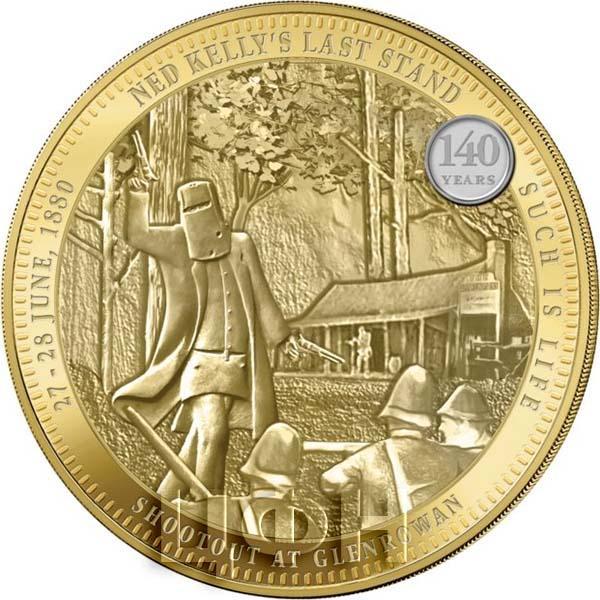 2 новозеландских доллара, базовый металл плакирован золотом, цифровая печать, вес – 110 гр., диаметр - 65 мм
