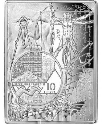 2019, Франция 10 евро, серия памятных монет «Леонардо да Винчи» (реверс).jpg
