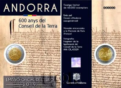 2 евро Андорра 2019 год « «600-летию Совета Земли»»  (аверс).jpg