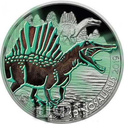 Австрия 3 евро 2019 год «Спинозавр» (реверс).jpg