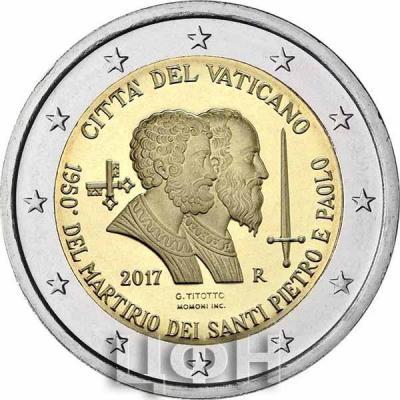 2 евро, Ватикан (1950-летие мученической смерти святых Петра и Павла) (реверс).jpg