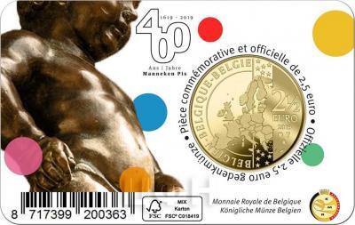 «2019 год, 2 ½ евро Бельгия, памятная монета - Фонтан «Писающий мальчик»» (4).jpg