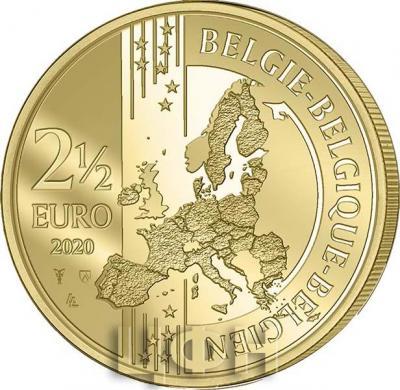 2020 год, 2 ½ евро Бельгия, памятная монета - «75 лет мира и свободы в Европе» (2).jpg