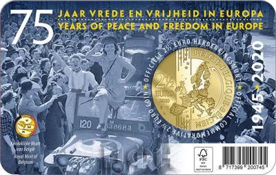 2020 год, 2 ½ евро Бельгия, памятная монета - «75 лет мира и свободы в Европе» (6).jpg