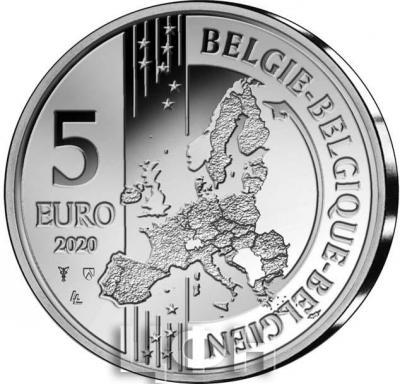 «2020, 5 евро Бельгия, памятная монета - «185 лет со дня  запуска первого поезда по материковой части Европы»» (1).jpg