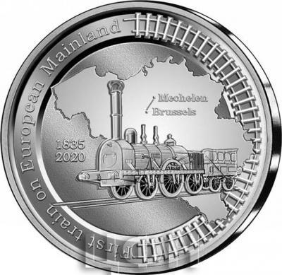 «2020, 5 евро Бельгия, памятная монета - «185 лет со дня  запуска первого поезда по материковой части Европы»» (2).JPG