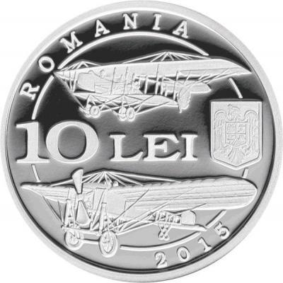 Румыния 10 леев 2015 год «100-летие румынского авиакорпуса» (аверс).jpg