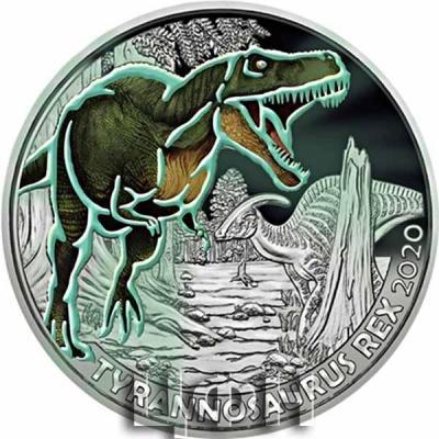 «TYRANNOSAURUS REX Supersaurus Glow In The Dark Coin 3€ Euro Austria 2020» 1.jpg
