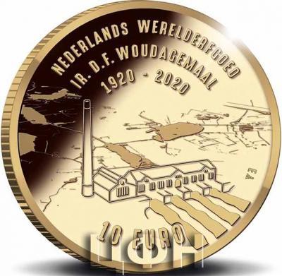 2020, 10 евро Нидерланды, памятные монеты «Паровая насосная станция Вауда» 1.jpg