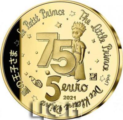 «LE PETIT PRINCE ET LES ÉTOILES - 5 EUROS 0.5 G. OR BE FRANCE 2021 75 ANS DU PETIT PRINCE».jpg